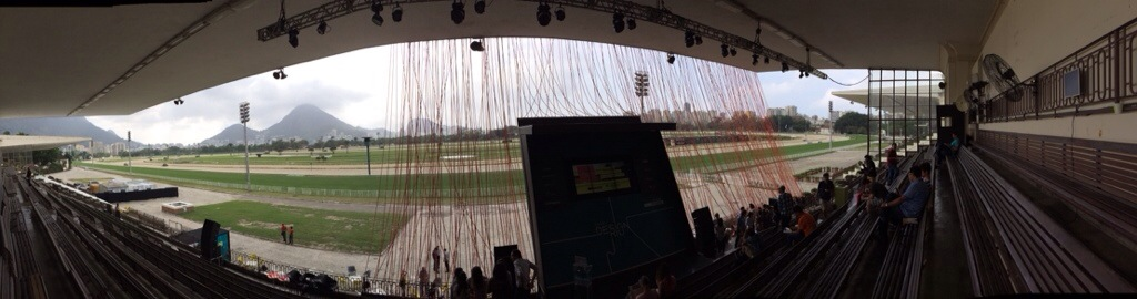 A panoramic view of the venue by day. Rio de Janeiro's Jockey Club is, as the name implies, also a racetrack!