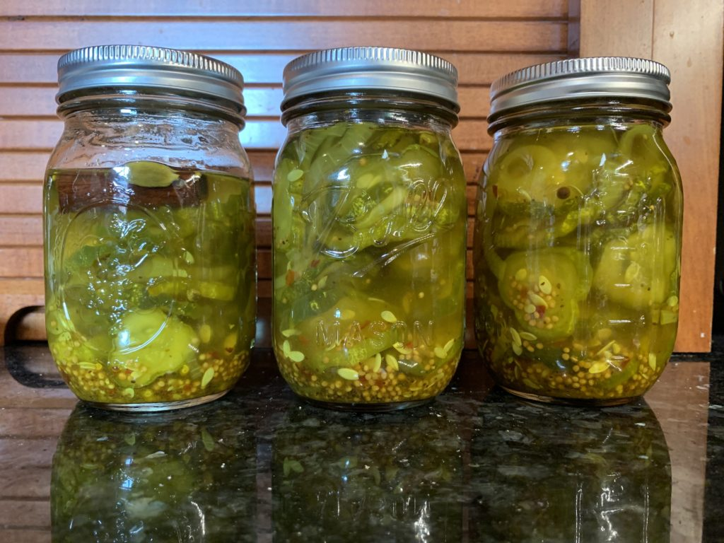 3 pint jars of bread-and-butter pickles.
